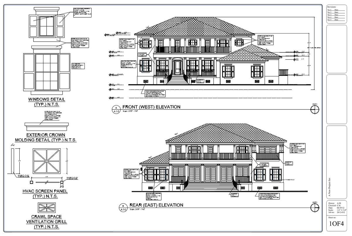 Front Elevation Design Drawing : Drafting by ids